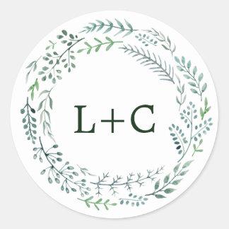 Green Rustic Wreath Wedding Envelope Seals Round Sticker