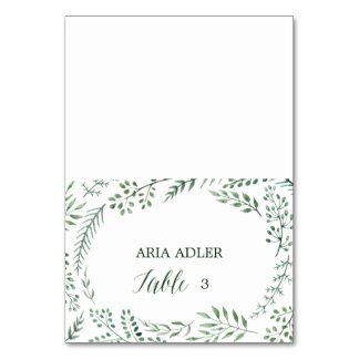 Green Rustic Wreath Wedding Escort Place Cards