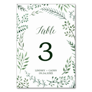 Green Rustic Wreath Wedding Table Number