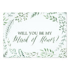 Green Rustic Wreath Will You Be My Maid of Honour Card