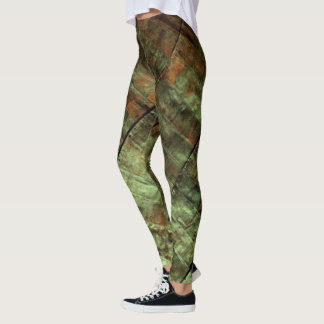 Green Rusty Grunge Metal Leggings