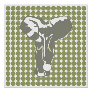 Green Safari Dot with Pop Art Elephant Posters