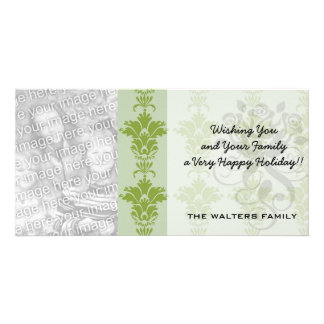 green sage and olive ornate damask pattern personalized photo card