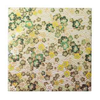 Green Sakura Small Square Tile