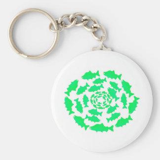 Green Salmon Circles Basic Round Button Key Ring