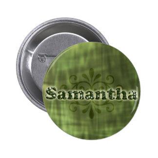 Green Samantha 6 Cm Round Badge