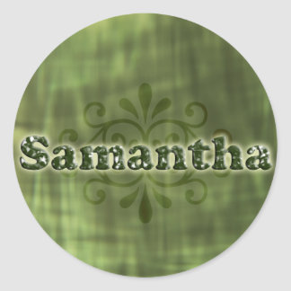 Green Samantha Round Sticker