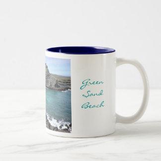 Green Sand Beach Coffee Mugs
