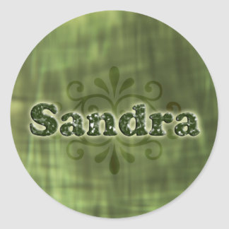 Green Sandra Round Sticker