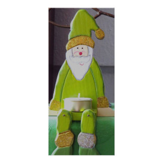 Green Santa Claus candle decoration Rack Cards