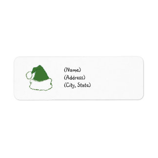 Green Santa Hat Return Address Labels