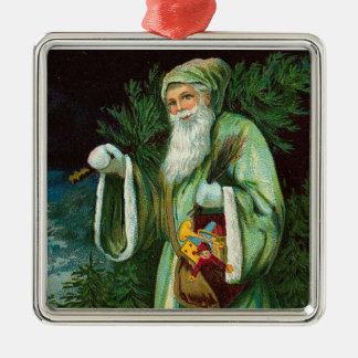 Green Santa Ornament