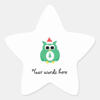 Green santa owl star sticker