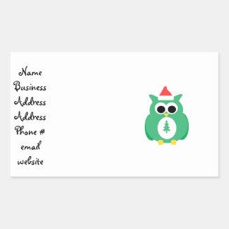 Green santa owl rectangular stickers