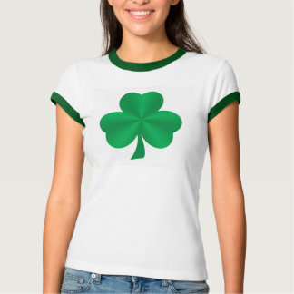 Green Satin Shamrock Ladies T-Shirt