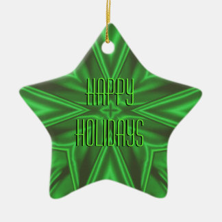 Green Satin Star Holiday Ornament