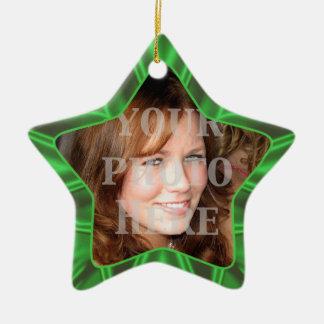 Green Satin Star Holiday Photo Ornament