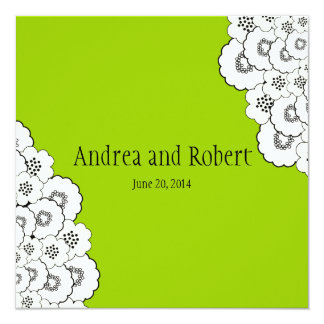 Green Save the Date Wedding Announcement