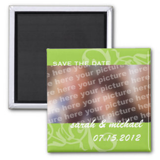 Green save the date wedding announcement photo square magnet