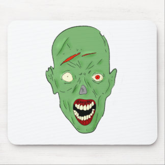 Green scarred zombie mouse pad