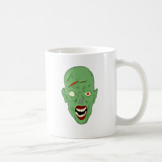 Green scarred zombie coffee mugs