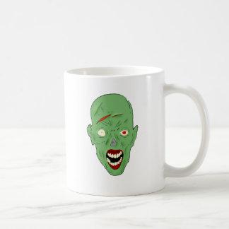 Green scarred zombie coffee mugs