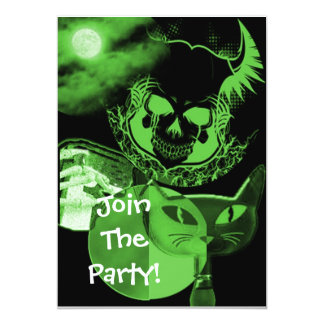 Green Scary Halloween Party Invitations