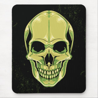 Green Scary Skull On Grunge Background Mouse Mat