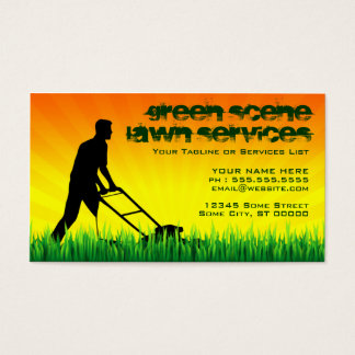 green scene lawn services business card