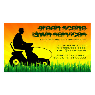 green scene lawn services business card template