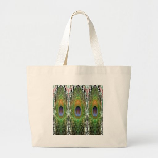 GREEN Scene - Peacock Feather Collection Canvas Bags