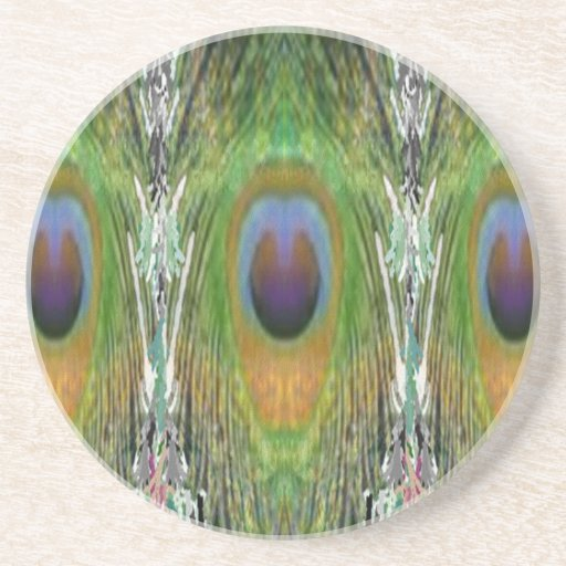 GREEN Scene - Peacock Feather Collection Coasters