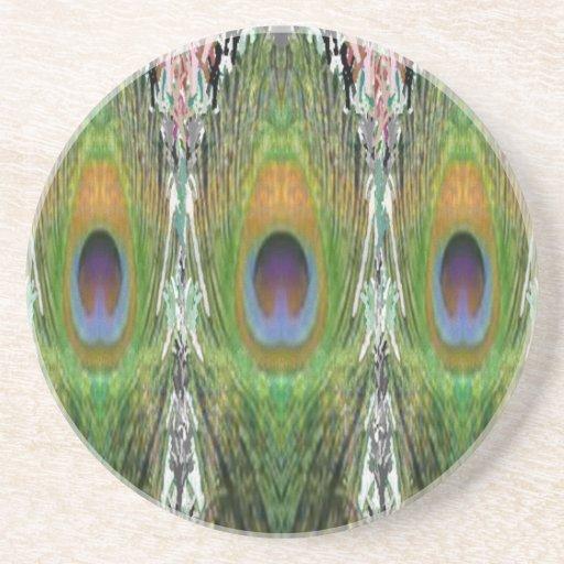 GREEN Scene - Peacock Feather Collection Coaster