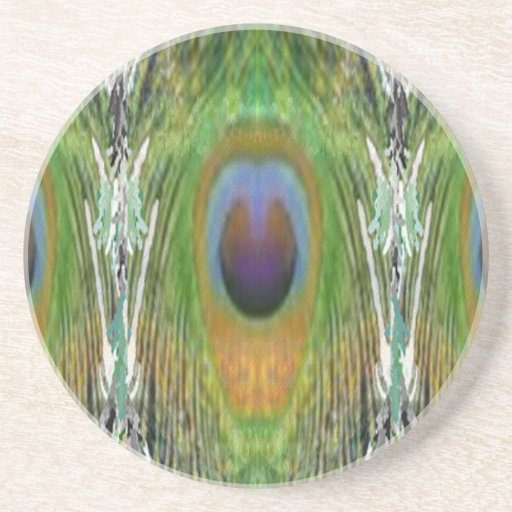 GREEN Scene - Peacock Feather Collection Drink Coasters