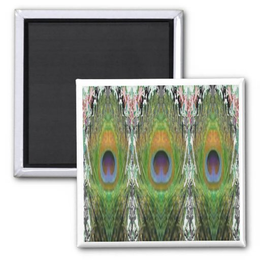 GREEN Scene - Peacock Feather Collection Refrigerator Magnet