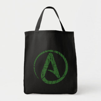 Green Scratched and Worn Atheist Atheism Symbol Tote Bags