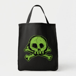 Green Scribbly Skull Grocery Tote Bag