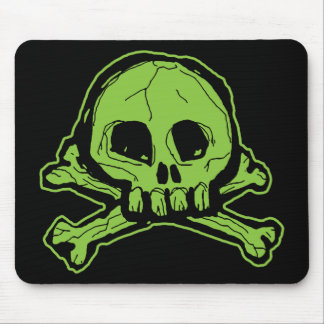 Green Scribbly Skull Mouse Mat