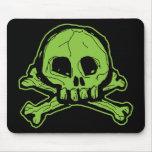 Green Scribbly Skull Mousepad