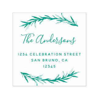 Green Script & Rosemary | Botanical Return Address Self-inking Stamp