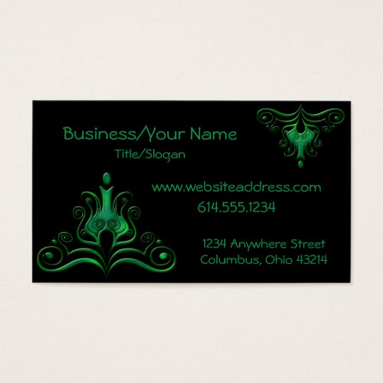 Green Scrolled Dark/Fantasy :: Business Card