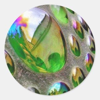 Green Scupture Mirrors Glass Round Sticker