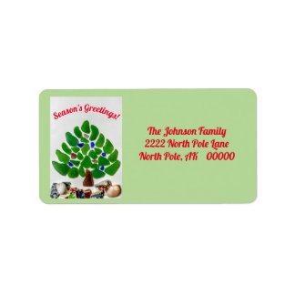 Green Sea Glass Season's Greetings Tree Labels