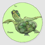 Green Sea Turtle Cartoon  Personalised Labels Sticker