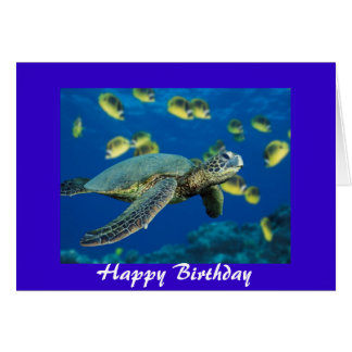 Green Sea Turtle, Happy Birthday Greeting Card