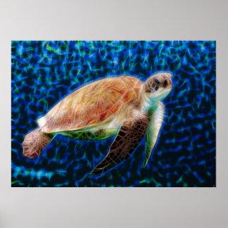 Green Sea Turtle Honu on Blue Fractal Art Poster
