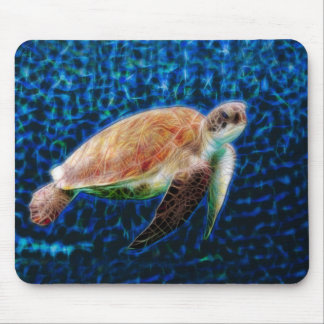 Green Sea Turtle on Blue Mouse Pad
