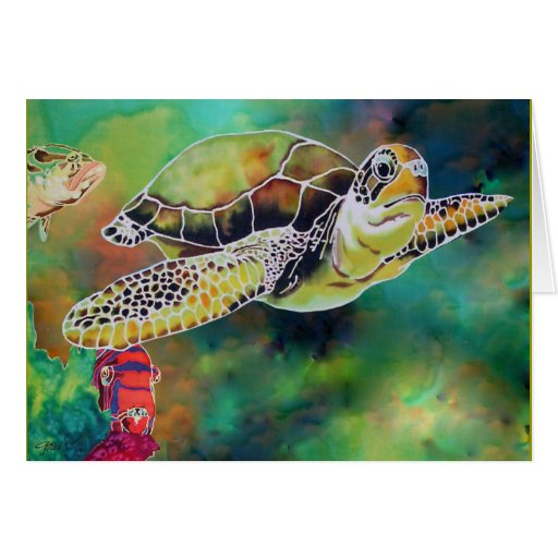 Green Sea Turtle Silk Painting Card