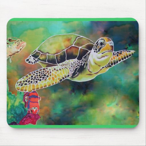 Green Sea Turtle Silk Painting Mouse Pad