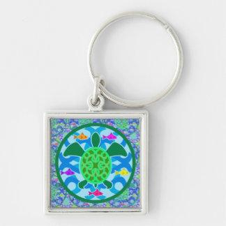 Green Sea Turtle Square Keychain